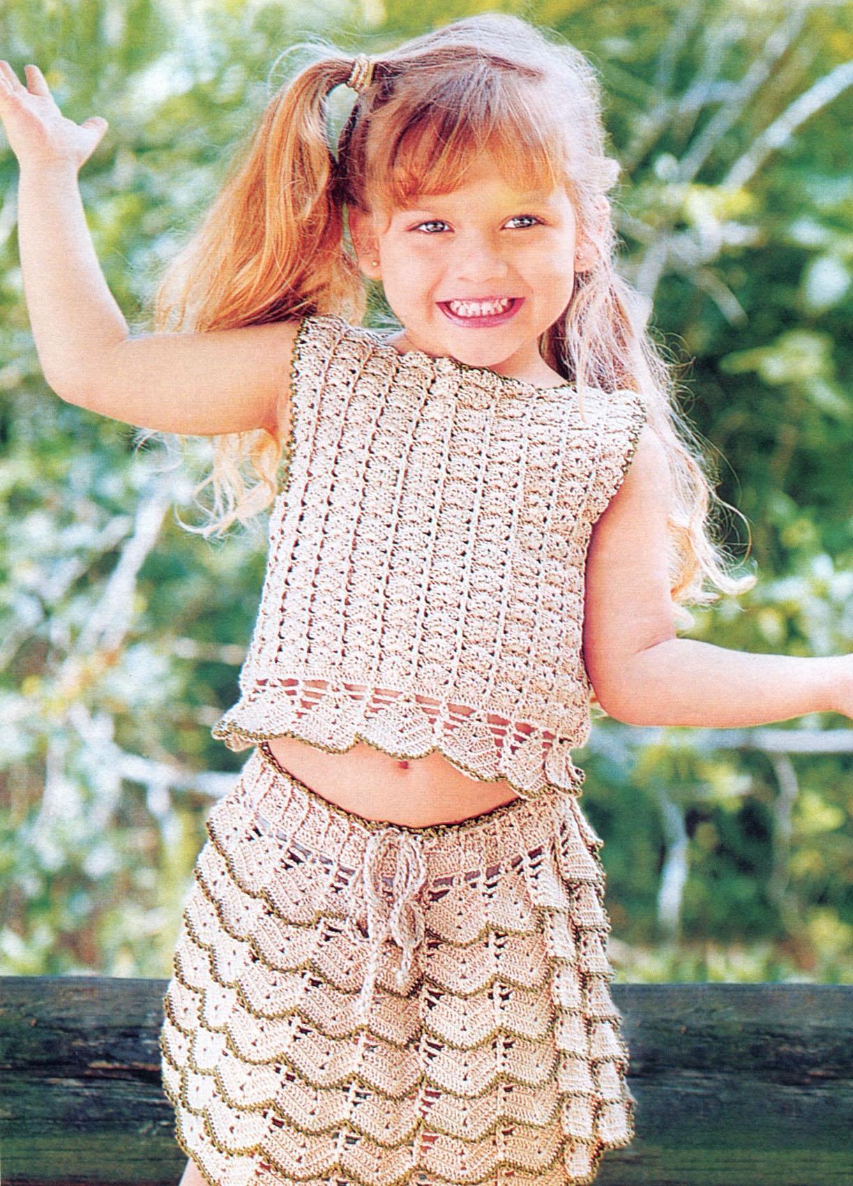 вязание крючком детской юбки чешуйками схемы